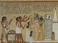 A painting showing Egyptian funeral rites, overseen by Anubis.
