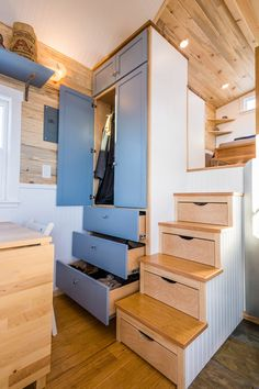 Closet & Drawers - Tara's 33' Gooseneck Tiny House by Mitchcraft Tiny Homes