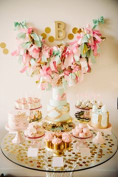 Pink and Gold Baby Girl Birthday Party, Baby Shower / Candy Buffet Table, Cake, Decorations Gold Birthday Party, Birthday Bash, First Birthday Parties, Girl Birthday, First Birthdays, Birthday Ideas, Gold Party, Birthday Candy Bar, Birthday Sweets
