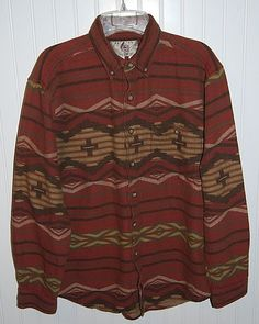 The Territory Ahead Men's Medium Indian Blanket Aztec Long Sleeve Button Shirt  #TheTerritoryAhead #ButtonFront