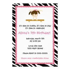 Gymnastic Ballet Birthday Party Invitation Zebra