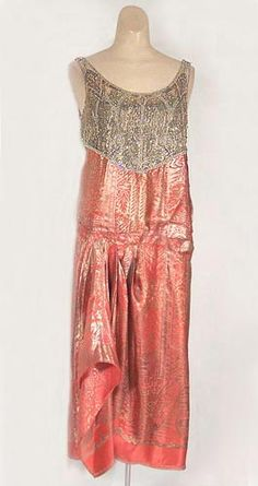 Beaded satin brocade evening dress, c.1928, from the Vintage Textile archives