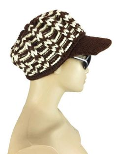 Crochet Newsboys Hat Slouchy Hat Beanie Brown Hat by Nakkashe, $23.00