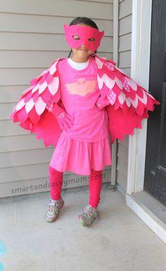 no sew, pj masks costume owlette, diy halloween costume