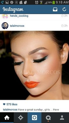 Orange lipstick makeup