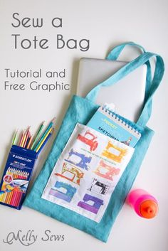 How to sew a tote bag - an easy project for beginners with a free printable graphic. Great sewing tutorial plus video for those who want to learn to sew.