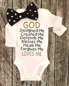 GOD designed me baby onesie Religious Baby Onesies - BellaPiccoli