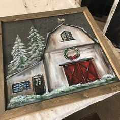 Items similar to Christmas at the barn, original art work from Rebeca Flott Arts, on Etsy Tole Painting, Diy Painting, Painting Videos, Painting Techniques, Christmas Paintings On Canvas, Illustration Noel, Christmas Wood, Xmas, Christmas Art Projects