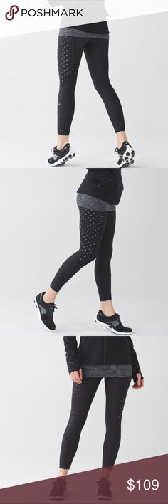 NWT lululemon tight stuff tight II sequin dot lululemon athletica tight stuff tight II. size 4. black with reflective sequin dots. full on luxtreme fabric. drawstring built into waist, zippered pocket in the back, and scalloping on the ankles. new with tags- never been worn or washed. come from a smoke free/ pet free home. no trades. open to offers with the offer button! lululemon athletica Pants Leggings
