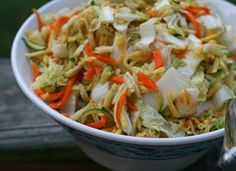 Asian Slaw with Ginger-Peanut Dressing - ¼ cup honey ¼ cup vegetable oil ¼ cup unseasoned rice vinegar* soy sauce Asian sesame oil peanut butter ½t salt ½t Sriracha sauce (Thai hot sauce…optional) minced fresh ginger 1 large garlic clove, minced Vegetarian Recipes, Cooking Recipes, Healthy Recipes, Korean Recipes, Bariatric Recipes, Cooking Tips, Napa Cabbage Slaw, Red Cabbage, Asian Slaw