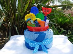 This Blue Beach Towel Cake Is A Great Gift For Toddlers Birthday