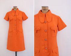 1960s Dress - Vintage 60s Mod Orange Dress - Morella Dress