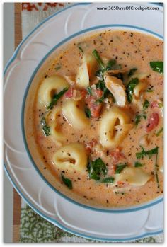 Crockpot Creamy Tortellini, Spinach and Chicken Soup