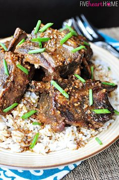 Slow Cooker Asian Beef Short Ribs ~ tender, savory beef from the crock pot, flavored with garlic, ginger, and sesame oil   FiveHeartHome.com