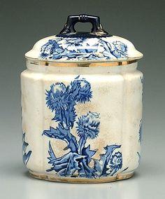 Blue transfer biscuit barrel, 1879-1882