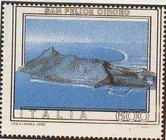 """1990 - """"Circeo azzurro"""" - """"Turismo"""": San Felice Circeo (Lazio) - Il mancato passaggio di alcuni colori hanno dato vita al """"Circeo Azzurro"""" del quale sono noti 25 esemplari"""