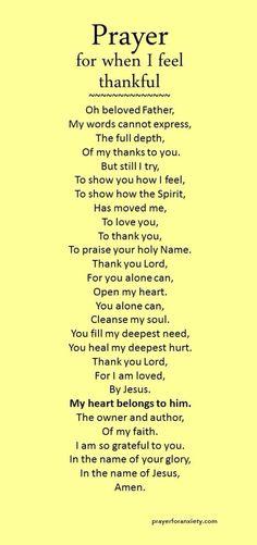 Prayer when thankful.