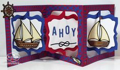 Frances Byrne using the Pop it Ups Fancy Accordion and Star Fancy Frame Edges die sets by Karen Burniston for Elizabeth Craft Designs. - Ahoy