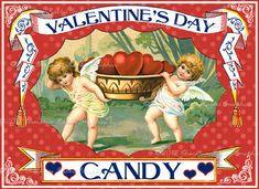 Valentines Day Vintage Candy Label Digital by chocolaterabbit