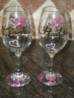 Hand Painted Valentine Wine Glasses by adele2kids on Etsy