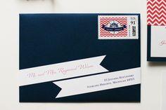 nautical banner envelope addressing. unique way to address envelopes.