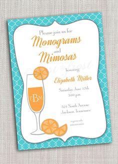 Monogram and Mimosas Printable Card - Wedding Bridal Shower Tea Luncheon. $12.00, via Etsy.