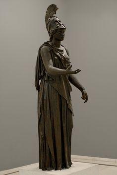 """Statue of Athene (""""The Peiraeus Athena""""). Bronze. 340—330 BCE. Height 2.35 m. Inv. No. 4646. Athens, Archaeological Museum of Piraeus."""