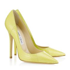 Jimmy Choo - Anouk - - Lemon Elaphe Pointy Toe Pumps - This succulent shade of yellow will add eye catching flair to all your day to night look. Contrast the colour of these elaphe spike heeled pumps with indigo denim or leather pants. Fashion Mode, Fashion Shoes, Fashion 2020, Heeled Boots, Shoe Boots, Suede Shoes, Women's Shoes, Pumps Heels, High Heels