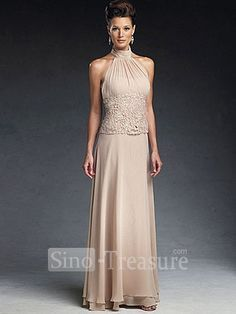 Light Champange Satin/Chiffon/Lace Halter Ruffle Column Floor-length Mother of the Bride Dress -Wedding & Events-Wedding Party Dresses-Mother of the Bride Dresses-Floor-length Mother Dresses