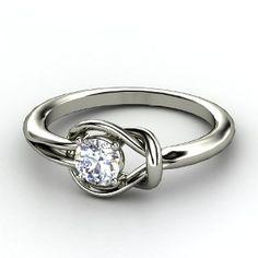 Hercules Knot Ring, Round Diamond Platinum Ring
