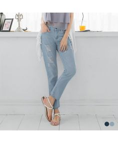 Ankle Length Distressed Boyfriend Jeans - 2 Colors