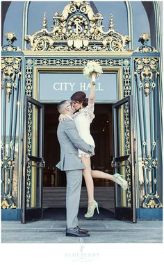 City Hall Wedding Obsessions Bride and Groom Kiss. thought about this with just a big reception after.