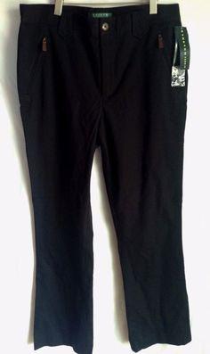 """NWT Retro Lauren Ralph Lauren - Black """"Stretch"""" Riding Pants Leather Zipper SZ 8 #RalphLauren #CapeGraceBlack"""
