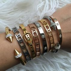 Stainless steel bracelet collection, available in silver, 18K gold and rose gold plated, only at www.PearlsAndRocks.com Use code PIN20 for 20% off, free shipping for orders over $30.