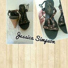 JESSICA SIMPSON wedges Addiytional pics for serious buyers only please. Dark brown, studded, 5 inch wedge. Nwot but still has the stickers on the bottom Never worn. Decided to high for me im six.ft already lol. Jessica Simpson Shoes
