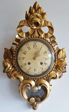 Beautiful Cartel Wall Clock Gilded Wood Case Westerstrand Sweden…