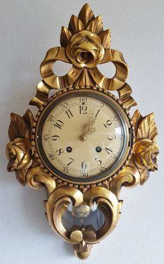 Beautiful Cartel Wall Clock Gilded Wood Case Westerstrand Sweden…