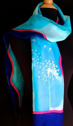 Bright and vibrant silk scarf with dandelions by FantasticPheasant, $35.00