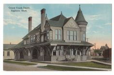 Postcard Saginaw Michigan MI Grand Trunk Depot Railroad Train Railway