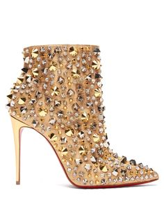 Christian Louboutin So Full Kate 100 LiÈge PÉpite Ankle Boots In Gold Heeled Boots, Bootie Boots, Shoe Boots, Ankle Boots, Buy Shoes, Me Too Shoes, Women's Shoes, Shoes Sneakers, Flat Shoes
