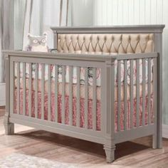 Belmont Convertible Crib Stone Grey with Bronze Upholstered Panel from PoshTots