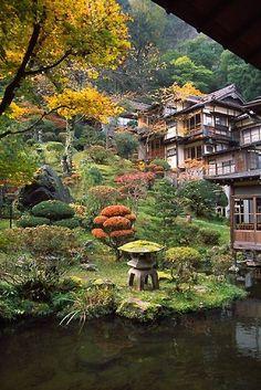 The Mukaitaki Inn, Aizu-Higashiyama Onsen, Fukushima Nature Architecture, Japanese Architecture, Japanese Garden Design, Japanese Landscape, Japan Countryside, Japan Garden, Fukushima, Parcs, Garden Styles