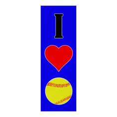 """Large I Love Softball Custom Color Vertical Poster! Click """"Customize"""" to adjust the background color (currently set on blue). #softball #fastpitch #poster #softballposter"""