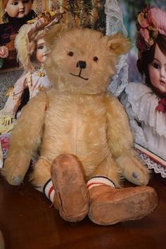 Old Teddy Bear Jointed Mohair Adorable Doll Friend