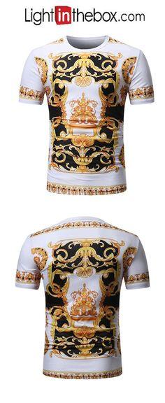 fd1e76187ac1c Men s Vintage   Basic Plus Size Slim T-shirt - Color Block Print Round Neck    Short Sleeve   Summer
