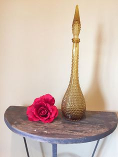 Vintage(1960's)Genie Bottle Decanter.Like The Table&Flower Display.