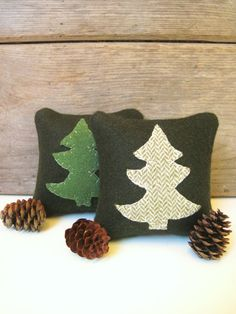Balsam Pillow,  Pine Tree Pillow, Rustic Cabin Pillow, 4 Inch Square Pillow on Etsy, $10.00