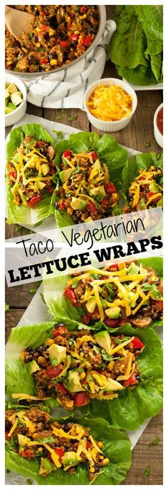 Vegetarian lettuce wraps put a tasty low-carb spin on tacos with quinoa and black beans. These tasty tacos will keep you full with a whopping 24 grams of protein and 18 grams of fiber per serving! - Feasting Not Fasting recipes tasty,healthy recipes Low Carb Vegetarian Recipes, Going Vegetarian, Vegetarian Dinners, Veggie Recipes, Mexican Food Recipes, Healthy Recipes, Delicious Recipes, Vegetarian Food, Vegetarian Italian