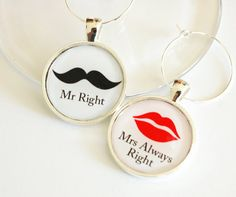 Wine Charms, Funny Wine Charms, barware, Mr Right, Mrs Always Right, table setting, silver plate (2379). $7.50, via Etsy.