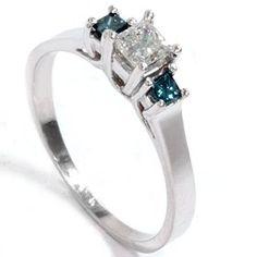 .50CT Blue & White Princess Cut Three Stone 3 Diamond Engagement 14K WG Ring 4-9